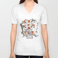 building V-neck T-shirts featuring Japanese building by Natsuki Otani