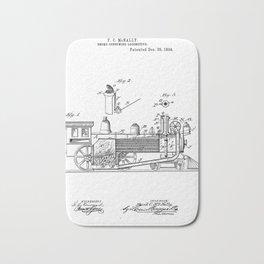 Smoke Consuming Locomotive Vintage Patent Hand Drawing Bath Mat