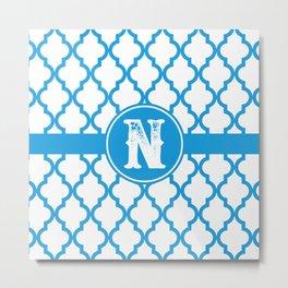 Blue Monogram: Letter N Metal Print