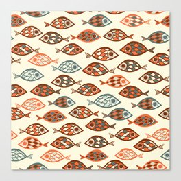 Fish pattern in abstract doodle style Canvas Print