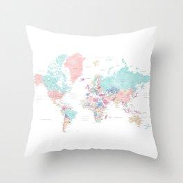 Detailed watercolor world map Carmen Throw Pillow