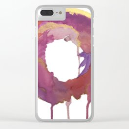Be present: a colorful, abstract, circular piece in pinks purples and gold Clear iPhone Case