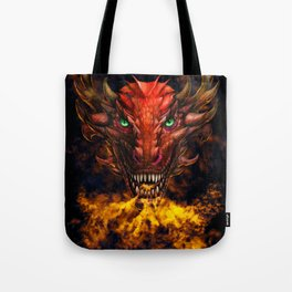 Digital dragon head, red skin and green eyes Tote Bag