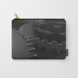 Set of metal gears and cogs on black Carry-All Pouch