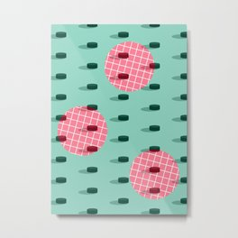 Pop Pucks #society6 #hockey #sport Metal Print