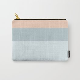 Modern  pastel coral blue color block stripes Carry-All Pouch