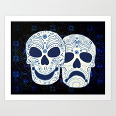 Comedy-Tragedy Sugar Skulls Cyan Art Print
