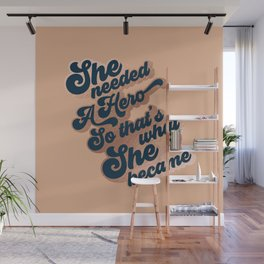 Hero Girl - Groovy font 2. Blue, Rose Gold, Tan Wall Mural