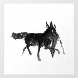 dragging a dead deer up a hill Art Print
