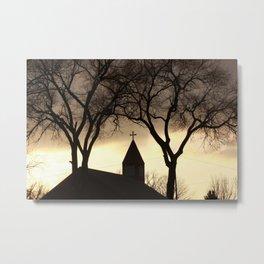 Silhouette of a Church Steeple Metal Print
