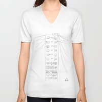 building V-neck T-shirts featuring building by QWUX