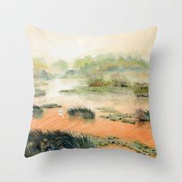 Egret On The Marsh Throw Pillow
