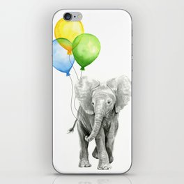 Elephant Watercolor Baby Animal with Balloons Blue Yellow Green iPhone Skin