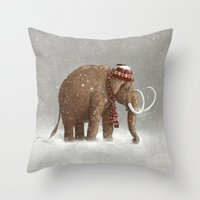 brown Throw Pillows featuring The Ice Age Sucked by Terry Fan