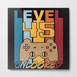 Level 45 Unlocked Retro Gamer Gift Idea Metal Print