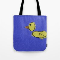 duck Tote Bags featuring duck by K_REY_C