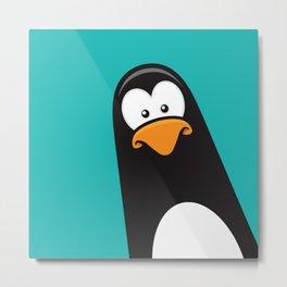 Pensive Penguin Metal Print
