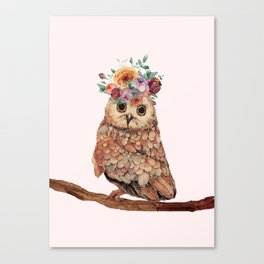 Owl with Flowers Canvas Print