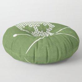 Knitted Skull - White on Olive Green Floor Pillow