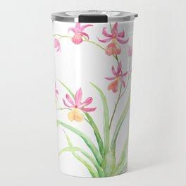 Watercolor pot orchid Travel Mug
