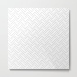 Broken and Barely There Light Gray Chevron Metal Print