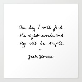 jack kerouac - the dharma bums - quote Art Print