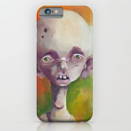 Calvin - Sad weird surreal guy with insomnia on green orange yellow background iPhone Case