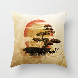 Bonsai Tree In The Sunset Throw Pillow