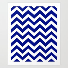 Phthalo blue - blue color - Zigzag Chevron Pattern Art Print