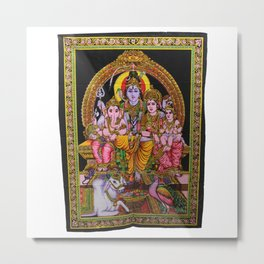 Shiva Family Ganesha Parvati Wall Hanging Tapestries Metal Print