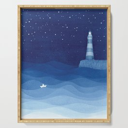 Lighthouse & the paper boat, blue ocean Serving Tray