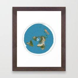 Flat Earth Map  Framed Art Print