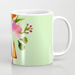 Watercolor Flowers with Geometric Accents Home Goods Design Coffee Mug
