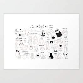 Cute Cat Doodles Cats Black and White Art Print
