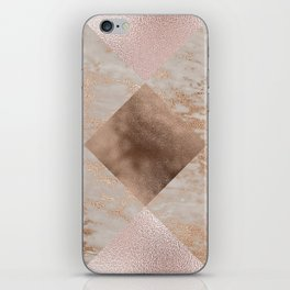 Copper and Blush Rose Gold Marble Gingham iPhone Skin