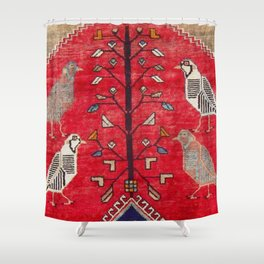 Persian Floral Rug With Several Birds Probably Quail Shower Curtain