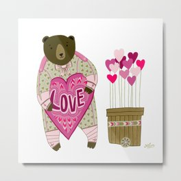 Bear with loveheart Metal Print
