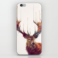 the lord of the rings iPhone & iPod Skins featuring Red Deer // Stag by Amy Hamilton