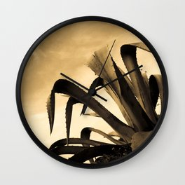 Giant Sepia Aloe Cactus Plant Photograph Art Print Wall Clock