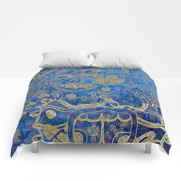 Mexican gold on blue Comforters