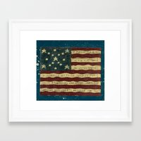 american flag Framed Art Prints featuring American Flag by Argi Univrs