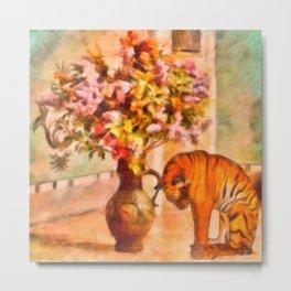 Sleepy Tiger - Painting – Still – By Liane Wright Metal Print