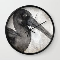 birdy Wall Clocks featuring Birdy by Linnea Frank