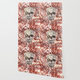 Floral Skull Red Wallpaper