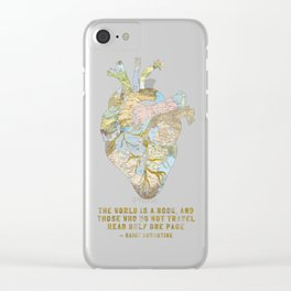 A Traveler's Heart + Quote Clear iPhone Case