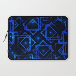 Shimmering blue rhombuses and squares with highlights in the intersection on a dark background. Laptop Sleeve