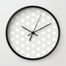 White & Gray Japanese Seigaiha Wave Wall Clock