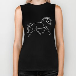 Galloping Horses, White on Navy Blue Biker Tank