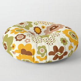Retro 70s funky flowers brown, orange, green Floor Pillow