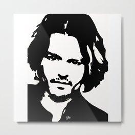 Johnny Depp Stencil Art Metal Print